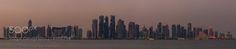 Doha Skyline - Early evening at Doha Port.  Doha Qatar  Panorama out of 6 single shots (landscape)