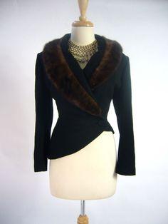 OPULENT 1940s LILLI ANN Bombshell Asymmetrical One Hip Black Mink Jacket Coat #LilliAnn