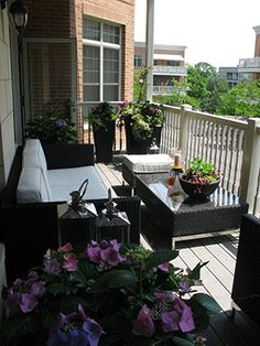 balcony furniture and container garden