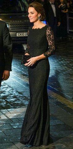 Inspired by Kate Middleton Celebrity Dresses Black Mermaid Lace Sheer Long  Sleeve Evening Prom Dress Princess b06173c89337