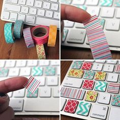 Washi Your Workspace: 8 Quick DIY Projects via Brit + Co. The Washi Tape Keyboard is my favorite! Diy Washi Tape Keyboard, Washi Tape Diy, Keyboard Stickers, Keyboard Keys, Keyboard Cover, Masking Tape, Duct Tape, Computer Keyboard, Washi Tapes