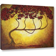 ArtWall Herb Dickinson Ethereal Tree I Gallery-wrapped Canvas, Size: 14 x 18, Red