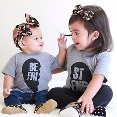 """Grey Best Friend Short Sleeve Tees. Guys. They have a third shirt that says, """"For Like Ever."""" Too cute!"""