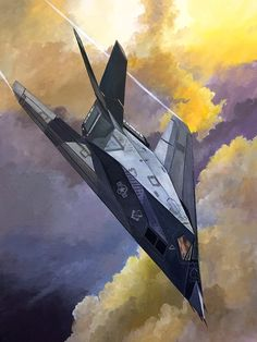 Air Force Nighthawk stealth strike aircraft, First Gulf War- by Lou Drendel Stealth Aircraft, Stealth Bomber, Fighter Aircraft, Military Aircraft, Airplane Design, Airplane Art, Air Fighter, Fighter Jets, Aircraft Design
