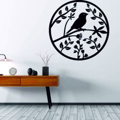A wooden painting on a wall of plywood is already spring bird bird. Antique Wall Clocks, Wood Clocks, Wooden Decor, Wooden Walls, Vintage Accessoires, Wooden Painting, Spring Birds, How To Make Wall Clock, Wooden Ornaments