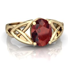 Garnet Celtic Trinity Knot 14K Yellow Gold ring R2389 - front view