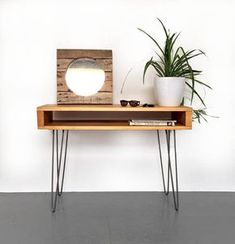 Laptop Desk or Hall Console Dressing Table Sideboard, Solid Wood on Metal Hairpin Legs