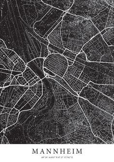 Retro-Look Stadtkarte von Mannheim