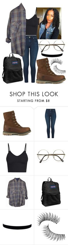 """""""Untitled #663"""" by the-fashion-fantasy ❤ liked on Polyvore featuring Timberland, J Brand, BasicGrey, ZeroUV, JanSport, Trish McEvoy, denim, croptop, plaid and trend"""