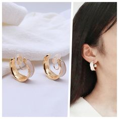 Gold Hoop Earrings, Clip On Earrings, Pearl Earrings, White Enamel, Ear Piercings, Spiral, Wire, Brass, Change