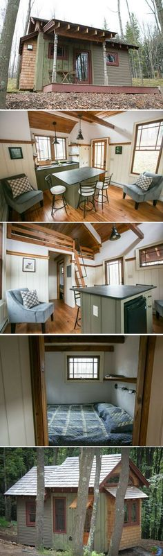 Cabins And Cottages: Cabins And Cottages: The Bella Donna cabin Tyni House, Tiny House Cabin, Tiny House Living, Tiny House Plans, Tiny House Design, Small Living, Two Bedroom Tiny House, Living Room, Tiny Cabins