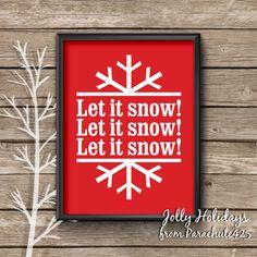 Winter Art Print Let It Snow winter snow art ski by Parachute425
