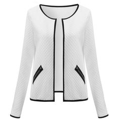 Celmia Casual Long Sleeves Zipper Pocket Patchwork Jacket For Women ($30) ❤ liked on Polyvore featuring outerwear, jackets, white and women plus size outerwear