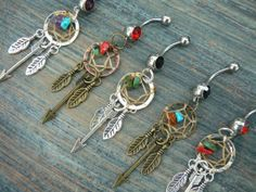 arrow dreamcatcher belly ring PICK ONE feathers gemstones in native american tribal boho belly dancer tribal fusion and hipster style on Wanelo