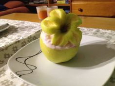 Flower apple with yoghurt