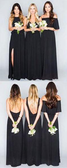 Black Bridesmaid Dresses,Mixed Bridesmaid Dresses,Mismatched Bridesmaid Dresses,Chiffon Bridesmaid Dresses,Fs029