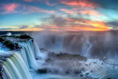 Sunset Over Iguazu Falls, Brazil
