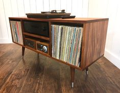 Solid mahogany turntable cabinet with album storage. Mid century modern record player console with vinyl storage. - Home Decor Ideas - Modern stereo and turntable cabinet with album storage. Modern Record Player, Record Player Console, Vintage Record Player Stand, Record Players, Turntable Setup, Stereo Cabinet, Record Cabinet, Record Shelf, Vinyl Storage