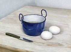 stilllifequickheart:  Jan Boon Still Life with Eggs, Knife and Blue Pan 1944