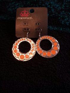 Orange an silver earrings $5
