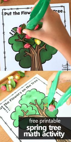 Practice Subtraction with Free Printable Spring Tree Math Activity for Preschool tree Spring Tree Dice Math Game Kindergarten Math Activities, Preschool Lesson Plans, Preschool Activities, Montessori Preschool, Montessori Elementary, Math Activities For Preschoolers, Letter T Activities, Preschool Education, Spring Activities