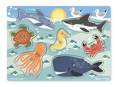 Sea Creatures Peg Puzzle - 6 Pieces | Best Toys for 2 year olds | Melissa and Doug