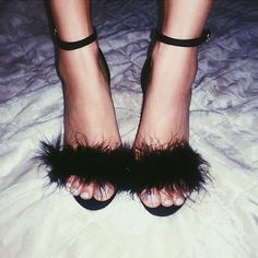 Sexy Time > Lingerie > Black Fluffy Slippers/Heels