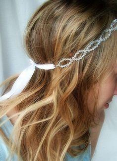 bridal headband accessory, bridal hair accessory, bridal forehead band, Swarovski crystal bohemian headband, Lucia.. £125.00, via Etsy.