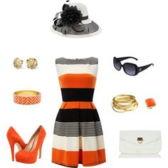 Orange you glad I came to the races?, created by kittieeyes on Polyvore