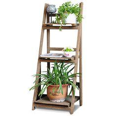 Wood Folding Ladder Plant Flower Pot display Book Shelf Wall Storage Unit Rack