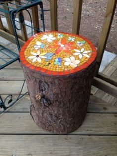 mosaic tree trunk