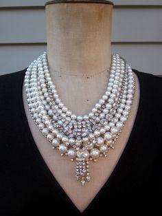 RESERVED Vintage Pearl Necklace Rhinestone por CurioJewellery