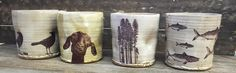 Mugs with Decals, Mark Strayer, North Star Pottery The Potter's Wheel, Pillar Candles, Glaze, Pots, Decals, Pottery, Ceramics, Printed, Inspiration