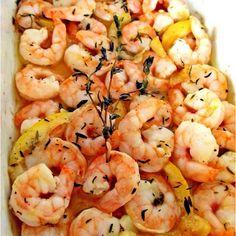 Roasted garlic lemon shrimp