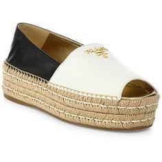 Prada Two-Tone Leather Peep Toe Platform Espadrilles (4,350 GTQ) ❤ liked on Polyvore featuring shoes, sandals, flatform espadrille sandals, flat leather sandals, flat espadrille sandals, leather sandals and metallic sandals