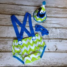 Cookie Monster Green and Blue Chevron Cake Smash Set - First Birthday Boy, Photography Prop, Birthday Outfit by Polkadotologie on Etsy