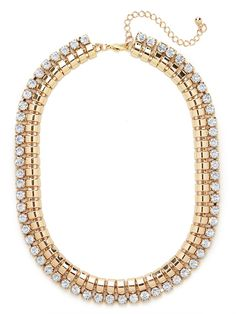 Tap into the Old Hollywood glamour of actress (and jewelry lover) Merle Oberon with this standout statement necklace. With its bold snake chain and grand ice-white crystals, it's the definition of ladified luxe.