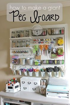 Fabric file and giant craft pegboard - Craft Storage Ideas for Small Spaces.   I'd love to work on my blog www.sewinlove.com.au in an office like this.