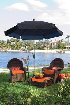 FiberBuilt Wind Resistant Garden Umbrella, Forest Green Canopy And Champagne Bronze Pole Beach Canopy, Backyard Canopy, Garden Canopy, Canopy Outdoor, Gazebo, Outdoor Decor, Outdoor Living, Garden Gate, Outdoor Ideas