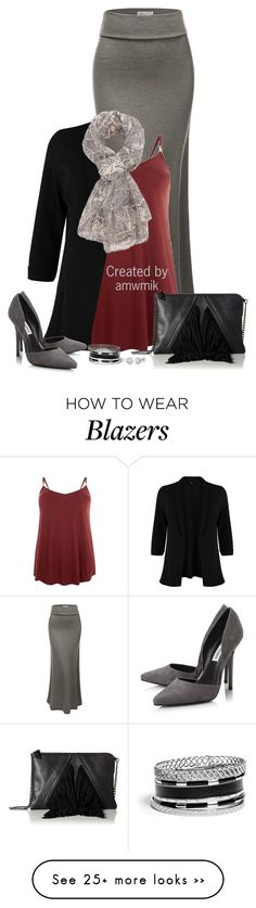 """""""Black Blazer"""" by amwmik on Polyvore featuring Doublju, Charlotte Russe, Steve Madden, GUESS and plus size clothing"""