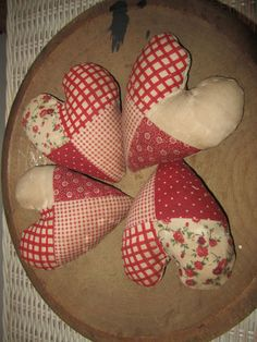 $26. started at $5.95 Primitive Red White Quilted Hearts Bowl Fillers Valentine's Day   eBay