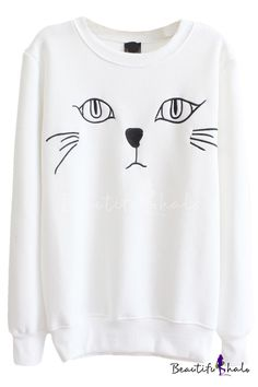 Cat Print Round Neck Long Sleeve Sweatshirt