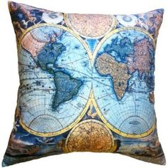 Amazon.com - Artiwa Vintage 18th Centuries World Map Printed Cotton and Soft Velvet Decorative Pillow Cover for Couch & Bed 18x18 Inch Gift Hint