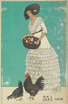 Easter Card Artist: Mela Koehler (Austrian, Vienna Stockholm) Publisher: Wiener Werkstätte Date: 1911 Medium: Color lithograph Dimensions: Sheet: 5 × 3 in. × 9 cm) Classification: Prints Credit Line: Museum Accession, transferred from the Library Illustrations, Illustration Art, Art Nouveau, Stockholm, Chicken Art, African American Dolls, Easter Art, Art For Art Sake, Arts And Crafts Movement