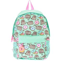 Pusheen Donut Print Backpack ($30) ❤ liked on Polyvore featuring bags, backpacks, pusheen, day pack backpack, pattern bag, print bags and patterned backpacks