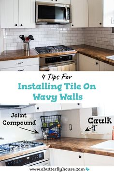 DIY tips for installing subway tile backsplash in your kitchen even if your walls are wavy! #HomeImprovement #DIYKitchen