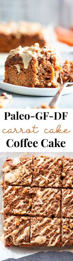 Sweet and moist with lots of cinnamon crumb topping this carrot cake coffee cake is sure to become a favorite! Its perfect for serving to guests or making ahead of time as a grab and go breakfast. It's gluten-free dairy-free paleo and family approved! Paleo Baking, Gluten Free Baking, Baking Recipes, Cake Recipes, Dessert Recipes, Drink Recipes, Baking Desserts, Paleo Coffee Cake, Paleo Carrot Cake