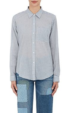 Current/Elliott Striped Voile Boyfriend Shirt - Tops - 505027466