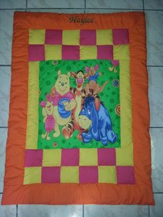 Pooh quilt in bright and fun colours