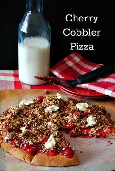 Cherry cobbler pizza recipe - looks delicious!